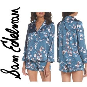 New Sam Edelman Silky Blue Floral Printed Pajamas